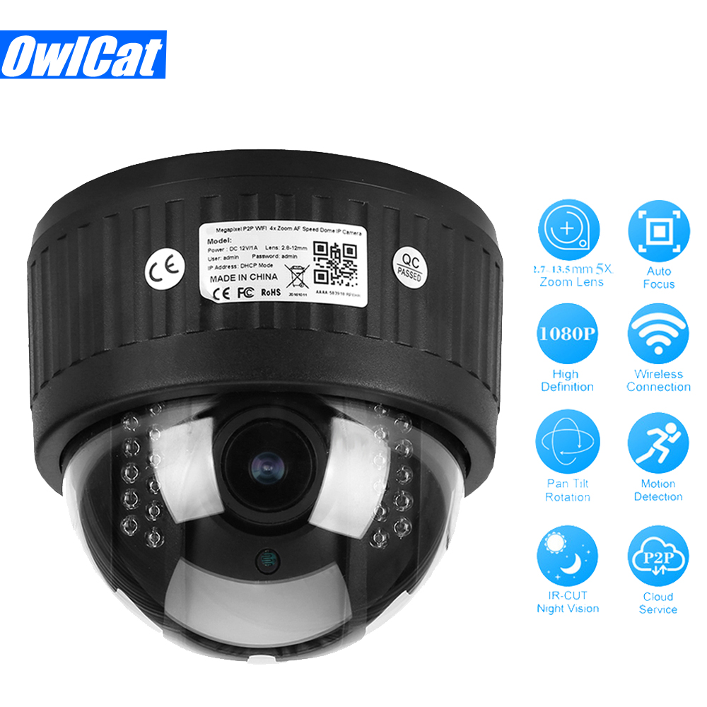 Indoor HD 1080P Wireless Revolving Dome PTZ IP Camera Wifi 5X Zoom 2.7-13.5mm Audio Microphone IR Night SD Card Slot Onvif P2P owlcat hd 1080p dome ptz ip camera wifi 5x optical zoom audio microphone security cctv wifi camera sd slot ir night onvif2 4 p2p