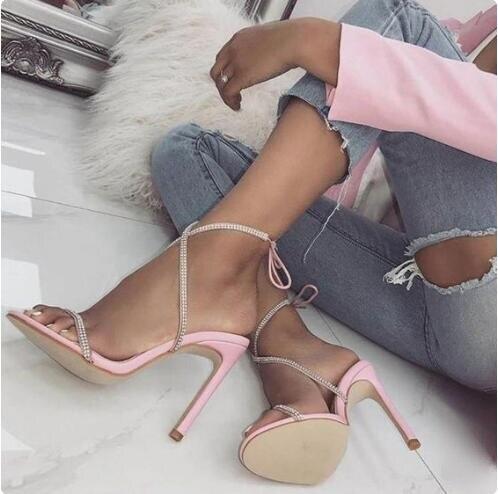 Luxe Bling Bling cristal embelli à bretelles femmes sandales découpées talon aiguille cheville Wrap à lacets gladiateur sandales chaussures