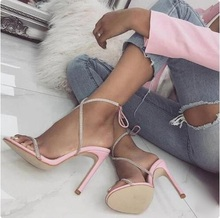 Luxury Bling Bling Crystal Embellished Strappy Women Sandals Cut-out Stiletto Heel Ankle Wrap Lace-up Gladiator Sandals Shoes