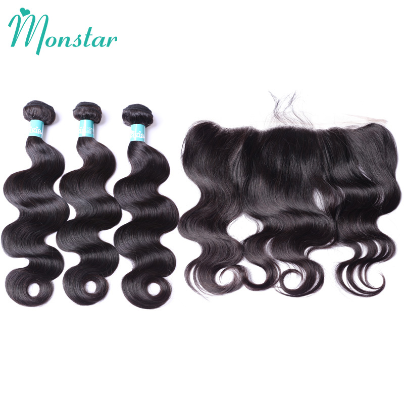 Monstar Products Body Wave Brazilian Human Hair with Frontal  30 Inch Natural Color Bodywave 2/3/4 Bundels with Frontal Closure-in 3/4 Bundles with Closure from Hair Extensions & Wigs    2
