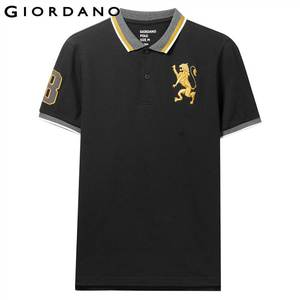 جيوردانو الرجال قميص بولو الرجال المطرزة 3D الأسد متعددة قميص بولو ملون الرجال التطريز التباين قميص بولو ملون الأزياء Camisa بولو