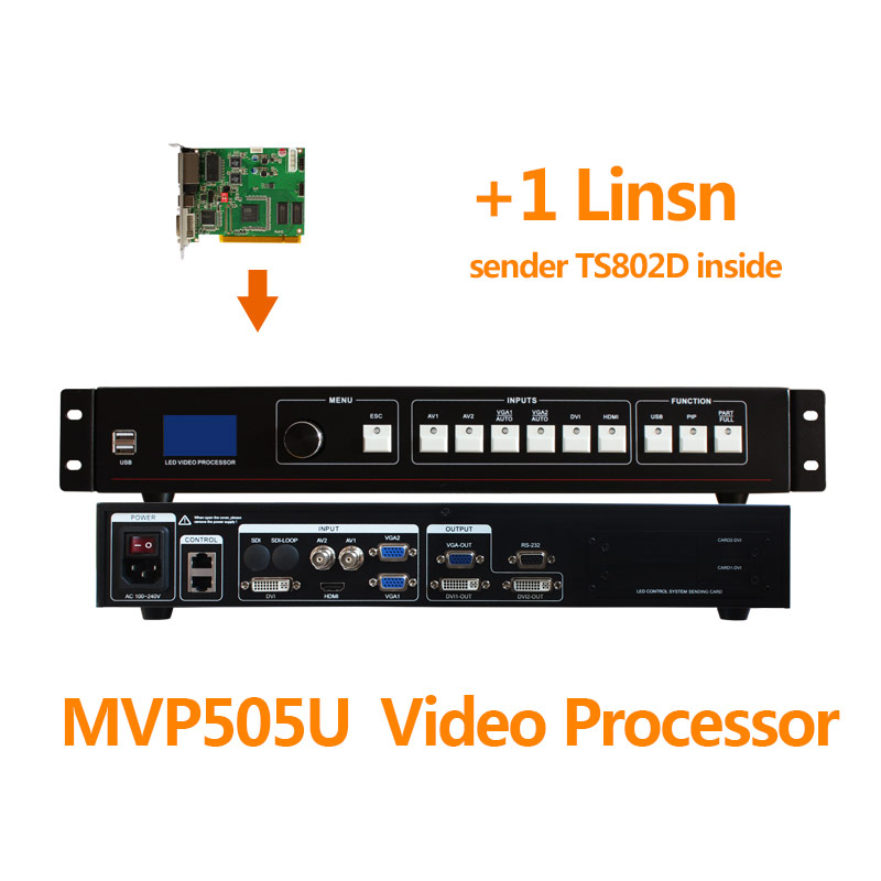 mvp505u usb video scaler led video processor controller with 1 full color display sending card linsn card ts802d
