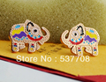 La orden mínima $15 Envío Libre, Venta Al Por Mayor 2013 Nuevo Elefante de Color Rosa Pendientes de Oro de Acero Inoxidable,