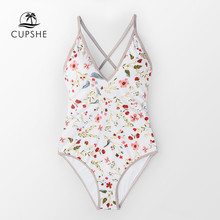 CUPSHE Dainty Floral Print V neck One Piece Swimsuit Women Sexy Back Lace Up Monokini 2020 Girl Beach Bathing Suits swimwear