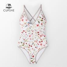 CUPSHE Dainty Floral พิมพ์ V คอ One Piece ชุดว่ายน้ำผู้หญิงเซ็กซี่กลับ Lace Up Monokini 2020 สาวชายหาดชุดว่ายน้ำชุดว่ายน้ำ