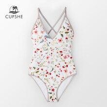 CUPSHE délicat imprimé fleuri col en V une pièce maillot de bain femmes Sexy dos à lacets Monokini 2020 fille plage maillots de bain maillots de bain
