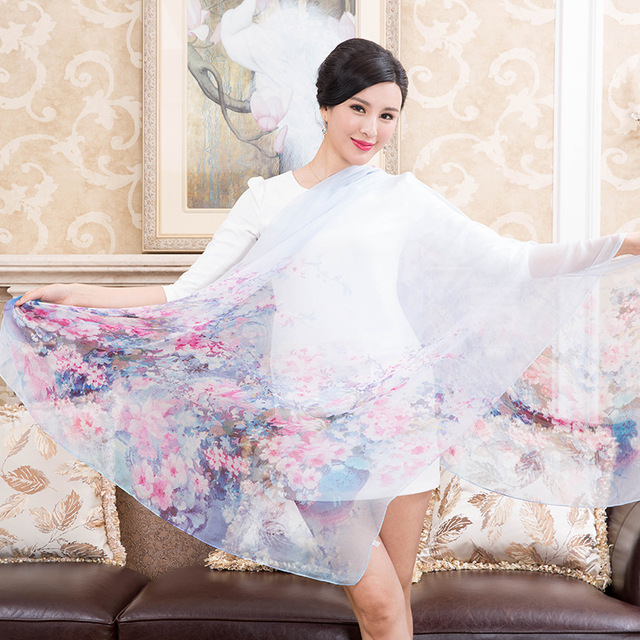 Echarpes Femininas 2016 Real Pure Silk Scarf Luxury Brand Print Neck Scarves Shawl Female Silk Long Beach Cover-ups Scarf Cape