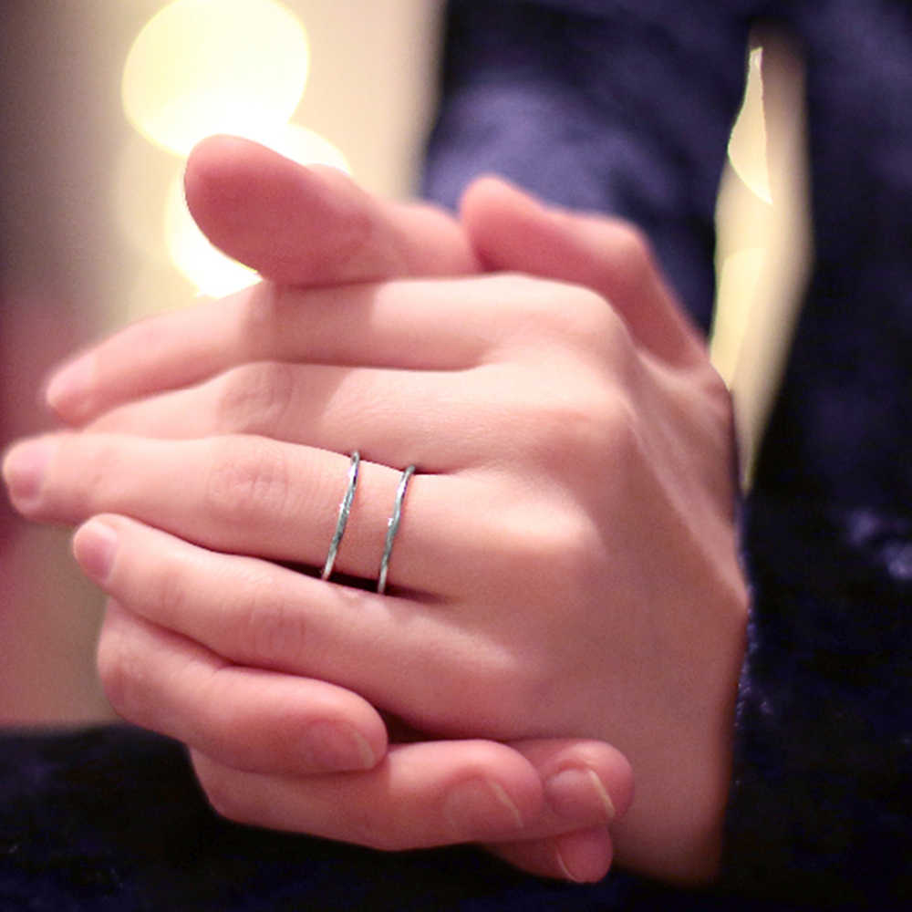 E - Manco Double Layer 925 เงินสเตอร์ลิงเปิดแหวนปรับแหวนหมั้นแหวนแฟชั่นเครื่องประดับที่ดีที่สุดของขวัญ