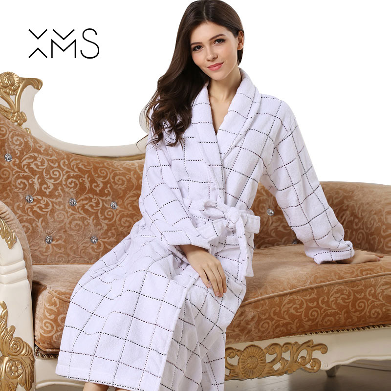 MXS Robes For Women Geometric Dressing Gown Women's Solid Color Full Sleeve Terry Cotton Sleep Lounge Robes Sexy Bath Robe Women