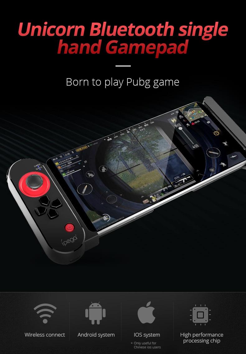 IPega PG 9100 sans fil Bluetooth 4.0 Gamepad Singleside conception pour Pubg FPS jeu Compatible avec 5-10 pouces Android téléphones tablette