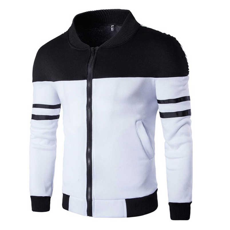 1fef575621326 Detail Feedback Questions about Winter Coat For Men Fashion Casual 2018  Autumn Winter New Zipper Sportswear Patchwork Jacket Long Sleeve Outwear  Coat F N05 ...