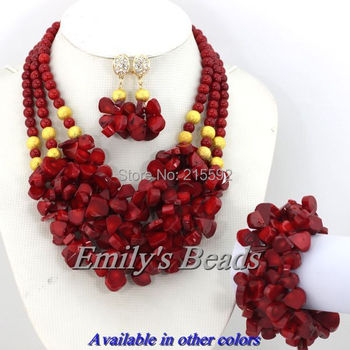 Fabulous Nigerian Wedding African Coral Beads Jewelry Set Red Coral Necklace Bracelet Clip Earrings Set Free Shipping CJ128