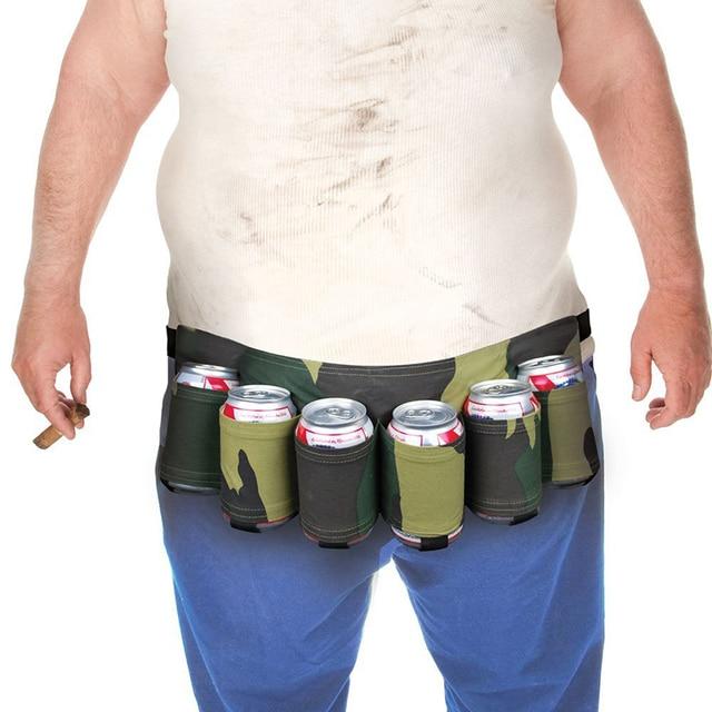 Bottle Holder 6 Pack Portable Holster Bottle Waist Beer Belt Bag Handy Wine Bottles Beverage Can Holder