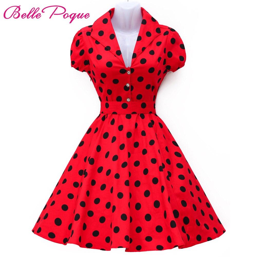 Vestidos de las mujeres del verano robe dress polka dot manga corta retra ocasio