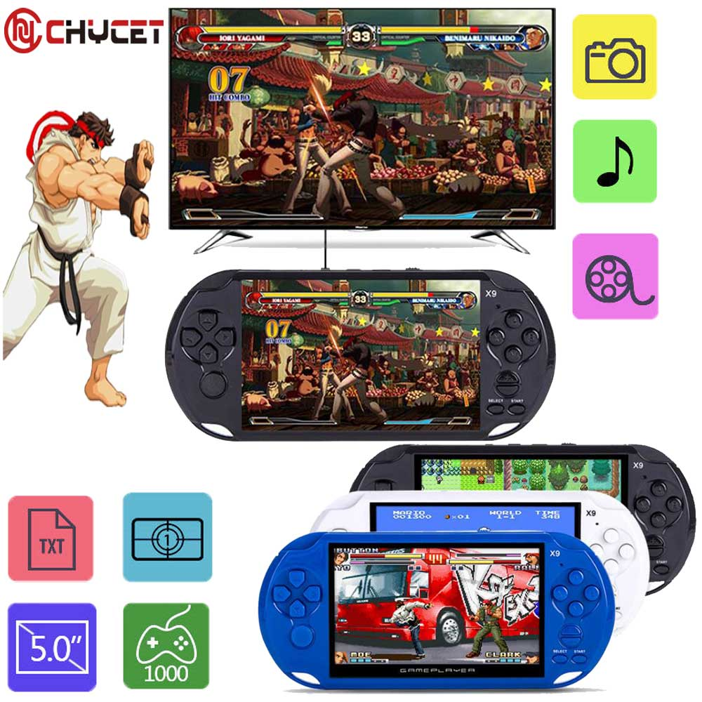 2018 New Arrival 5.0 Large Screen Handheld Game Player Support TV Out Put With MP3/Movie Camera Multimedia Video Game Console 16 bit sega md video game console 720p out put support put card arcade classic collection
