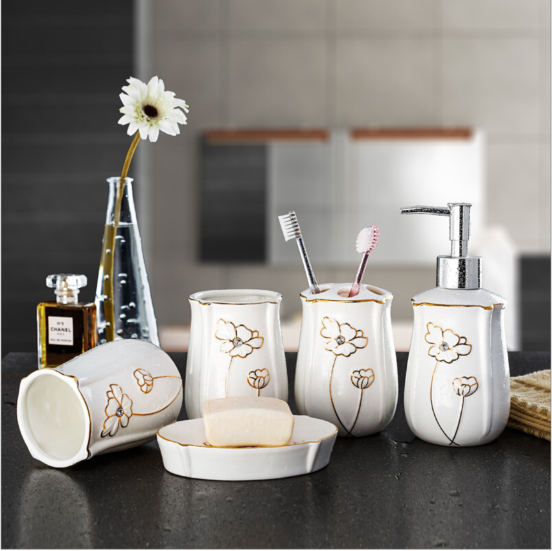 Fashion bone china bathroom set ceramic bathroom supplies kit toothbrush cups kit wedding gifts Soap dish