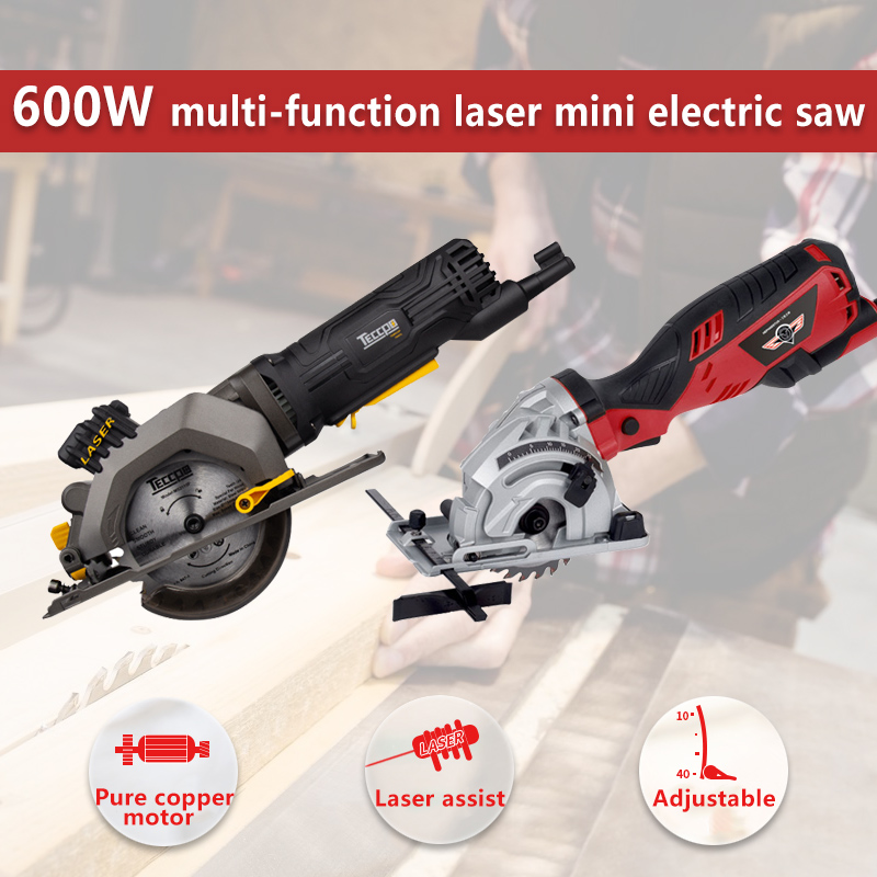 HEPHAESTUS 600W DIY Mini Circular Saw with Laser 3 Blades Dust Passage Allen Key Electric Saw