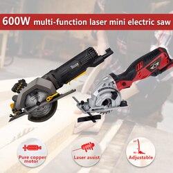 HEPHAESTUS 600W DIY Mini sierra Circular con láser, 3 cuchillas, paso de polvo, llave Allen, sierra eléctrica para cortar madera, tubo de PVC,