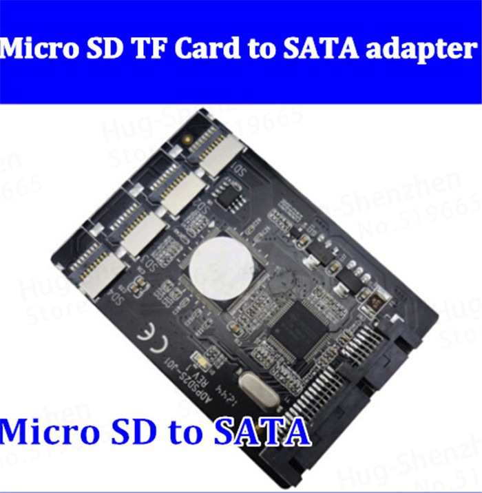 2pcs Free shipping New 4 Micro SD TF Card to 22pin SATA adapter card 2.5 hdd enclosure with RAID 0 Multi TF cards to SATA