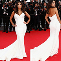 2014 Cannes Red Carpet Sexy Chapel Train Mermaid Long Evening Gown Kim Kardashian Celebrity Dresses