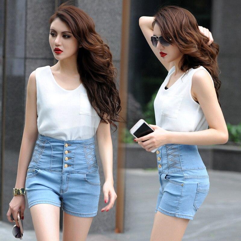 2018 spring women's Jeans Shorts gilrs For Summer Spring Autumn High Waist Cuffed Street Wear Sexy Euro Style Denim Shorts