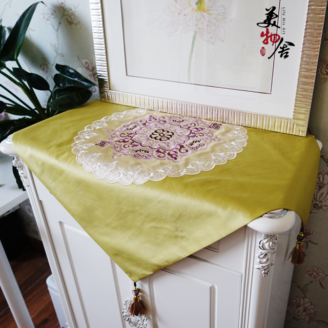 Thick Embroidery Tablecloth Mahjong Refrigerator Dresser Night Table Cloth Cover Wedding Room Sofa Home Hotel Bedding