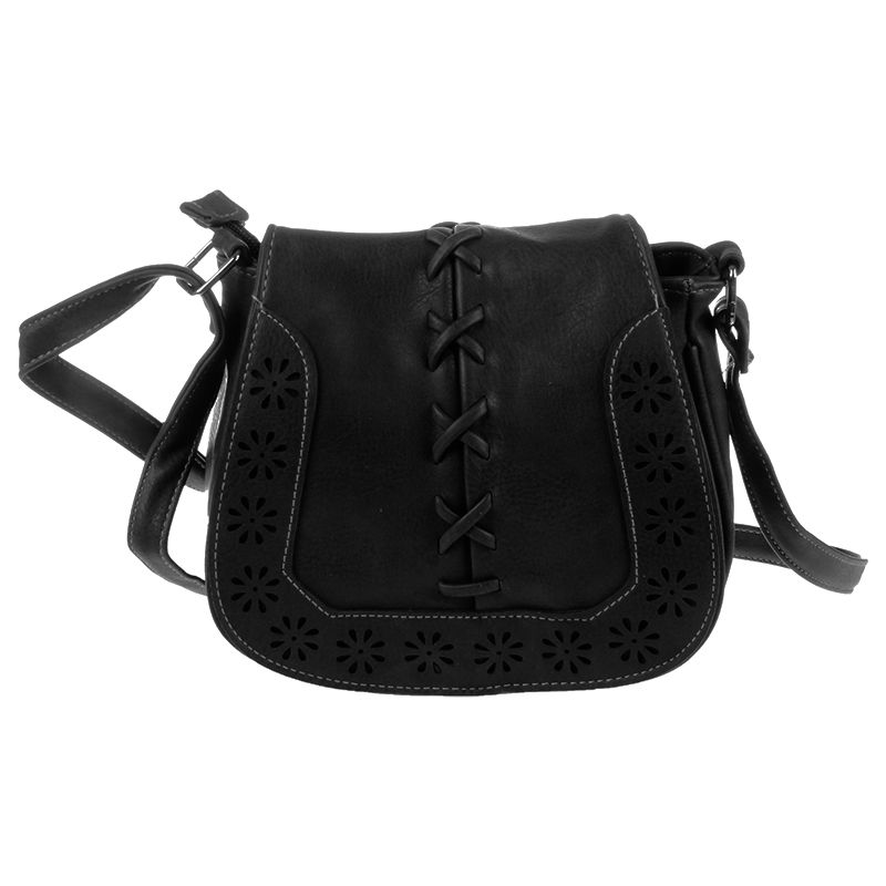 Fashion Women Leather Handbags Retro Hollow Out Crossbody Shoulder Bag Hollow Out Lady Vintage Bag Bags Black