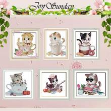 The cat Kitten in the cup counted Cross Stitch 11CT 14CT Set Wholesale DIY Cross-stitch Kit Embroidery Needlework
