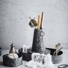 Bandeja de Metal Vintage, juego de jarrón antiguo de hierro forjado, decoración, bandeja redonda retro, plato de pan para el hogar, cocina, iglesia, boda