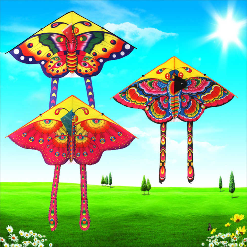 1pcs 90*50CM Outdoor Sports Butterfly Flying Kite with Winder Board String Children Kids Toy Game