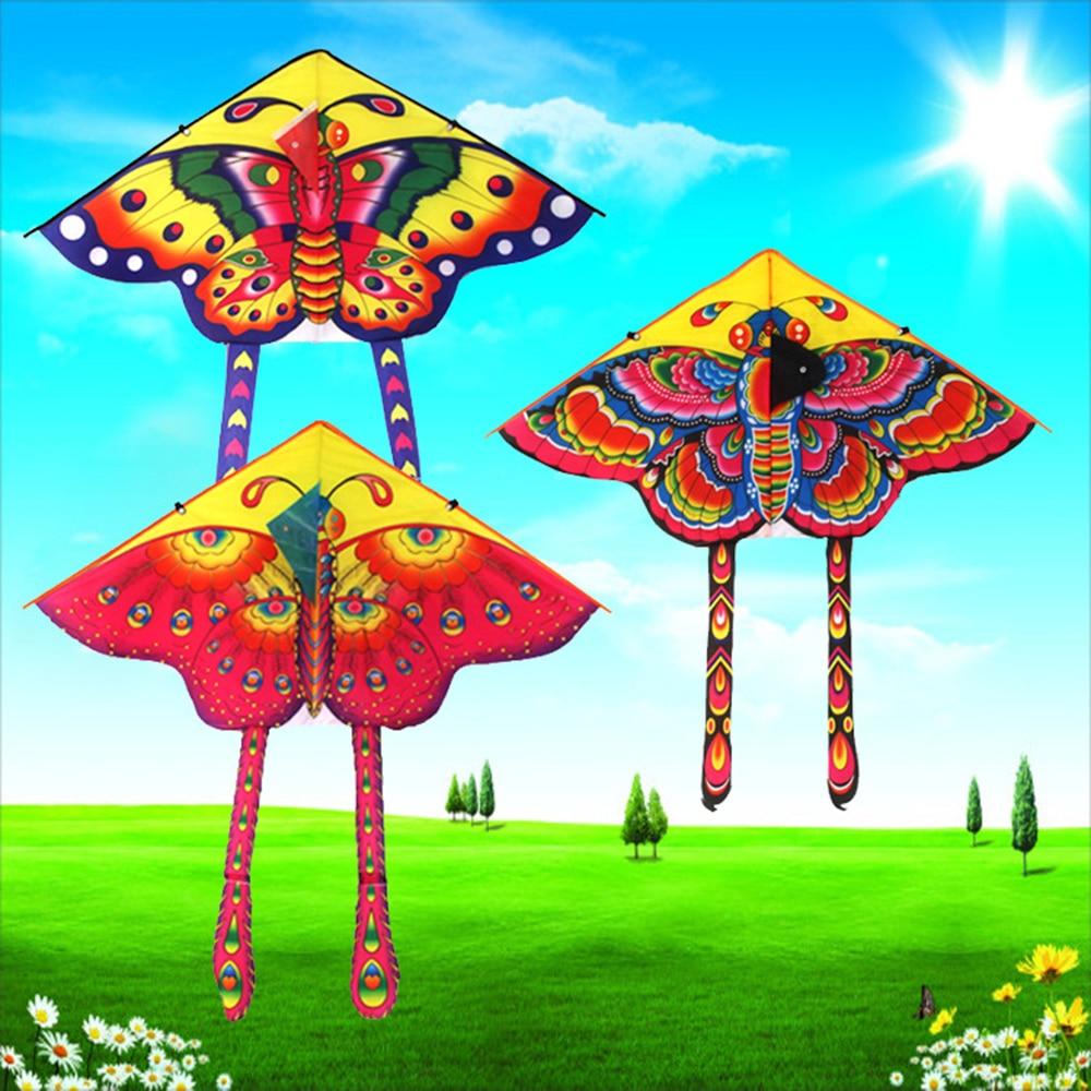 1PC Butterfly Printed Long Tail Kite Children Kids Outdoor Garden Fun Toys SP