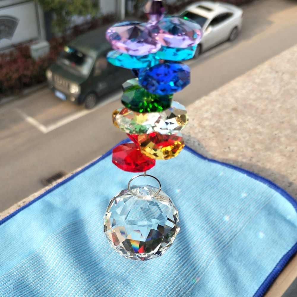 Ręcznie robione tęczowe kryształki akrylowe garland ze szklaną kryształową kulką DIY akcesoria do rękodzieła żyrandol centrum dekoracji części