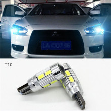 2 X T10 LED W5W Car LED Auto Lamp 12V Light bulbs with Projector Lens for mitsubishi lancer 10 asx outlander 2013 pajero