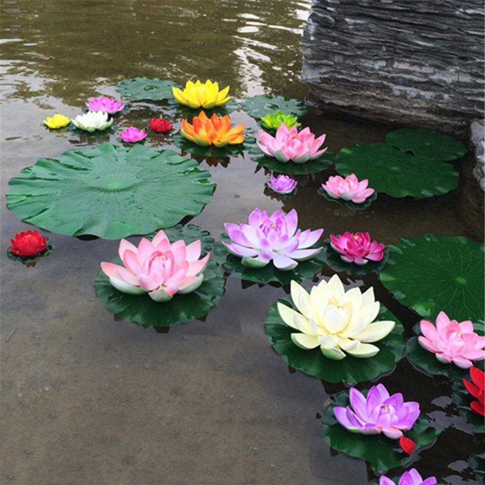 New 1PC Artificial Lotus Water Lily Floating Flower Pond Tank Plant Ornament 10cm Cheap Fake Flowers for Home Decoration Hot