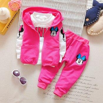 Novas Meninas Dos Desenhos Animados Minnie Conjunto de Roupas Crianças Outono 3 pcs Define Jaqueta Com Capuz Casaco Colete Combina Com Meninos de Algodão Do Bebê Crianças roupas
