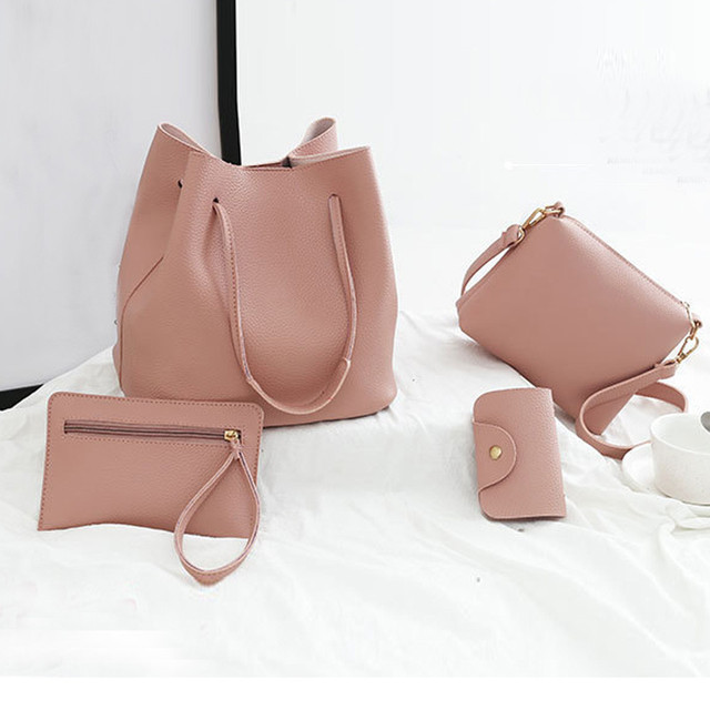 4pcs Women Composite Bag Set Luxury PU Leather Purse Handbags Top-Handle Female Designer Sac Shoulder Bag Ladies Dropshipping