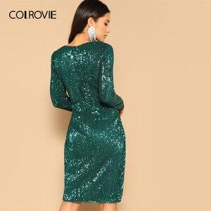 Image 2 - COLROVIE Green Twist talia tulipan Hem cekinowa sukienka na przyjęcie kobiety 2019 wiosna z długim rękawem elegancka obcisła sukienka Sexy Midi sukienka