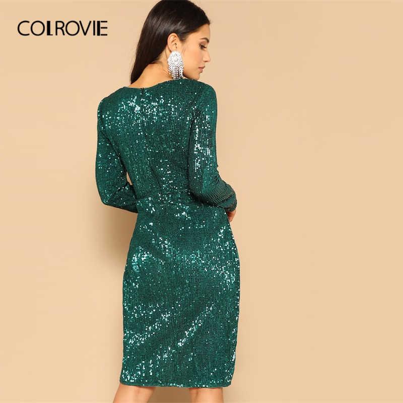 COLROVIE Green Twist Талия тюльпан подол блесток вечернее платье женское 2019 весеннее элегантное облегающее платье с длинным рукавом сексуальное миди платье