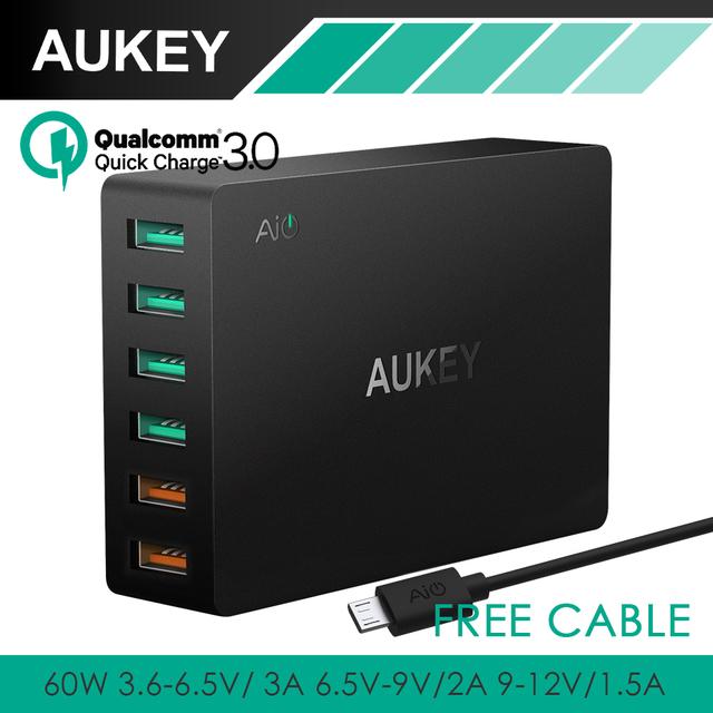 AUKEY Quick Charge 3.0 Multi USB Turbo Rápido Carregador de Parede 60 W Estação de Carregamento Compatível Com Todos Os Qualcomm Carregamento Rápido telefones