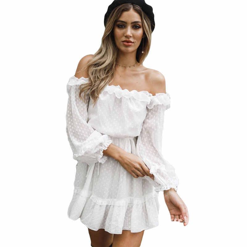 אופנה לפרוע סלאש צוואר כבוי כתף שמלת נשים מקרית שמלות ארוך שרוול אלגנטי דוט Sheer מיני שמלה 2019 Robe Femme
