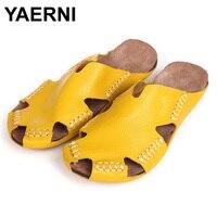 YAERNI 35 45 Women Sandals 100 Authentic Leather Gladiator Sandals Women Summer Shoes Beach Slides Ladies
