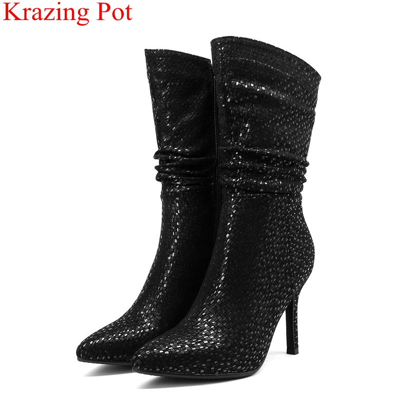 2018 new pointed toe big size kid suede zipper women mid-calf boots super heels nightclub solid elegant concise winter shoes L512018 new pointed toe big size kid suede zipper women mid-calf boots super heels nightclub solid elegant concise winter shoes L51