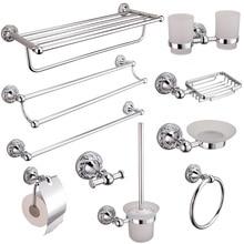 AUSWIND держатель чашки для зубной щетки полированные аксессуары для ванной комнаты наборы Современные Резные хромированные полотенца кольцо sShower Caddy Rack