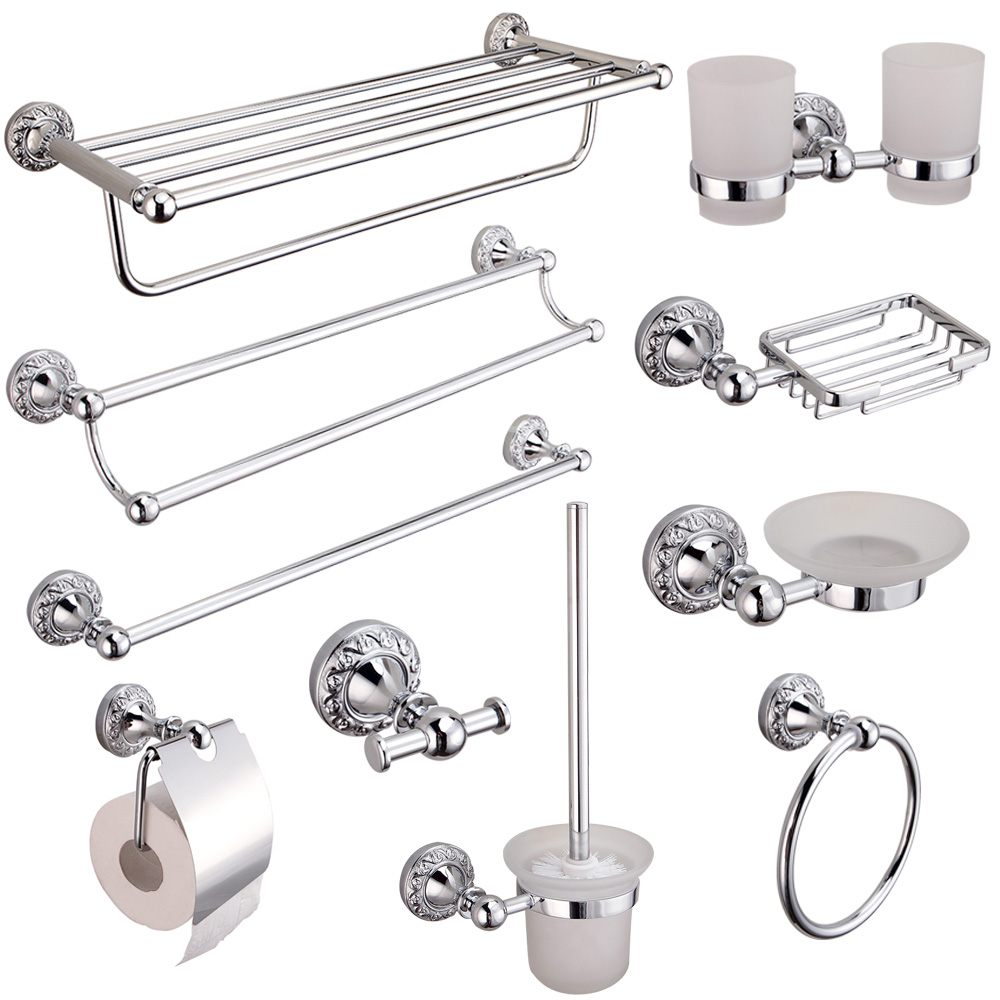AUSWIND Toothbrush Cup Holder Polished Bathroom Hardware Sets Modern Carved Chrome Bath Towel Ring sShower Caddy Rack image