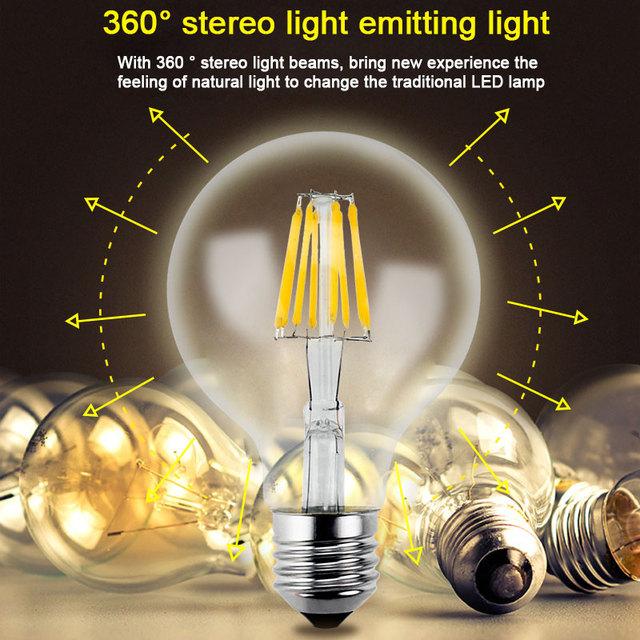 Gitex Antique LED E27 Bulb Retro Lamp 220V 2W 4W 6W 8W LED Filament Light E14 Glass Ball Bombillas LED Bulb Edison Candle Light