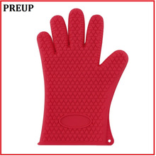 PREUP 1pcs Heat Resistant Silicone Glove Cooking Baking BBQ Oven Pot Holder Mitt Kitchen Red Search