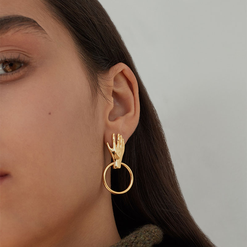 Artsy Gold Tone Palm Circle Dangle Earrings For Women 2019 Top Quality Hand  Drop Earrings Femme Bijoux