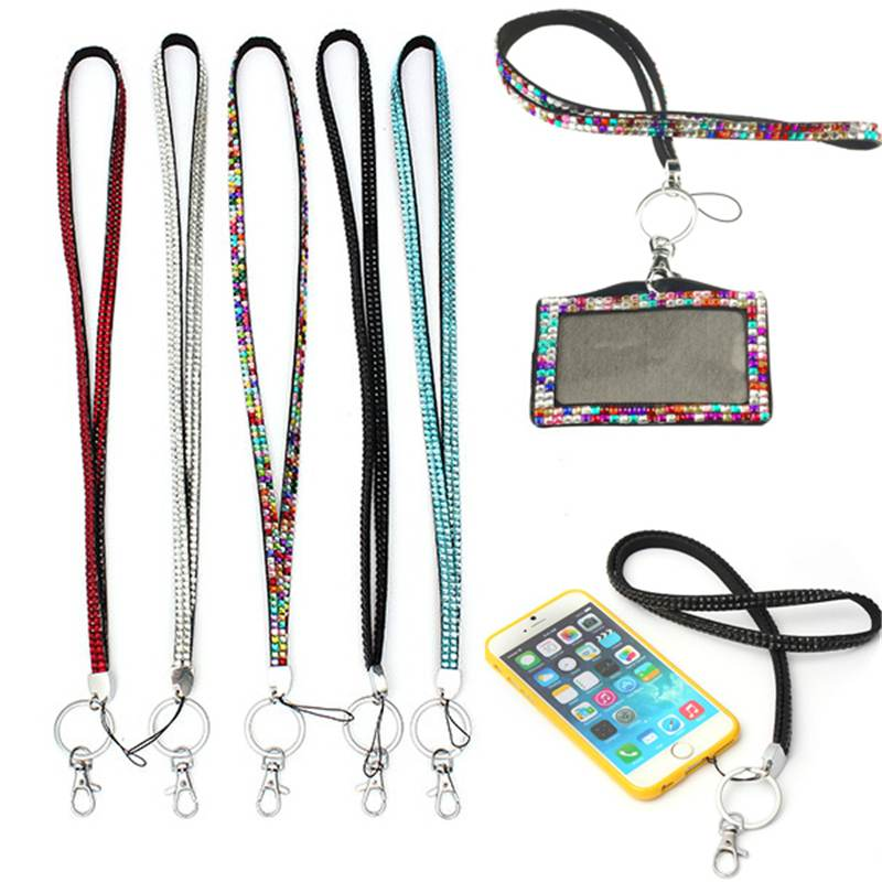 41CM Phone ID Card Badge Retail Lanyard Crystal Rhinestone Mobile Phone Neck Strap Key Holder Rhinestone Lanyard Badge Reel