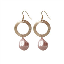 Geometrical irregular round earrings temperament melting Pearl fashion Street snap tide female