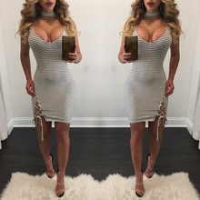 Summer Contrast Color Dress Sexy Party Mini Dress Women Sleeveless Straps Detail Dresses for female 9855